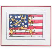 """Keith Haring """"American Flag"""" Lithograph"""