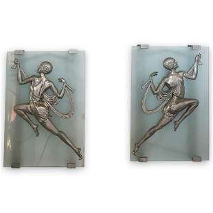 Gori French Art Deco Glass and Bronze Sconces