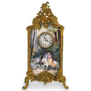 Antique Viennese Bronze & Enamel Clock