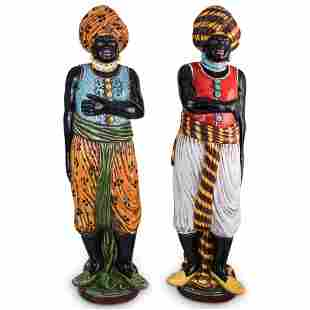 (2 Pc) Pair of Italian Majolica Glazed Blackamoor
