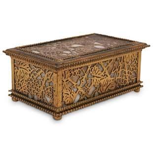 Tiffany Studios Bronze Slag Glass Box
