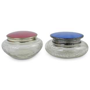 (2 pc) Enamel Silver & Glass Powder Jars