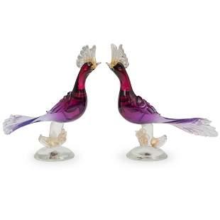 Barbini Murano Art Glass Bird Figurines