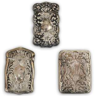 (3 Pc) Antique Sterling Silver Match Boxes