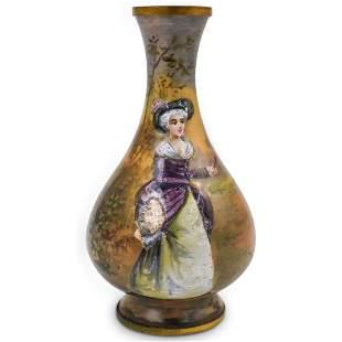 Antique Porcelain Miniature Enamel Vase
