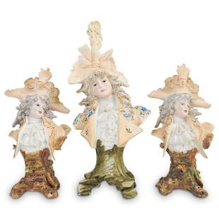 (3 Pc) Antique German Porcelain Busts