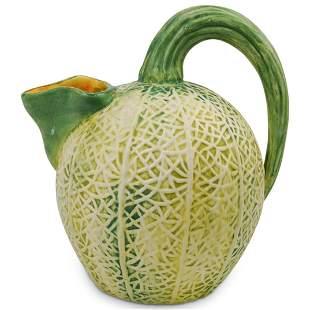 Mid-Century Ceramic Majolica Cantaloupe Pitcher