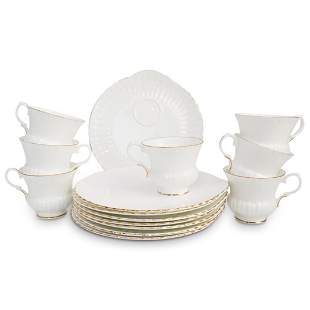 (15 Pc) Crown Staffordshire Plate & Cup Set