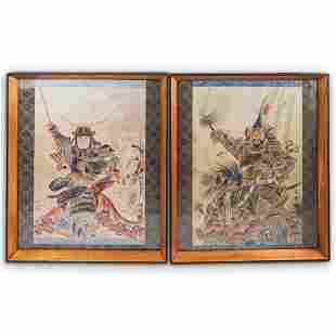 (2 Pc) Japanese Painted Warrior Scrolls