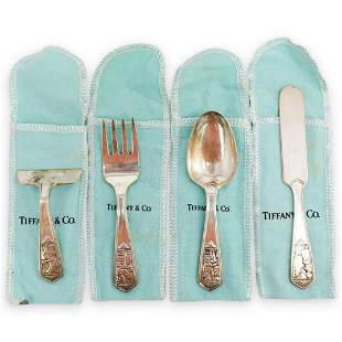 (4 Pc) Tiffany & Co. Sterling Baby Flatware Set