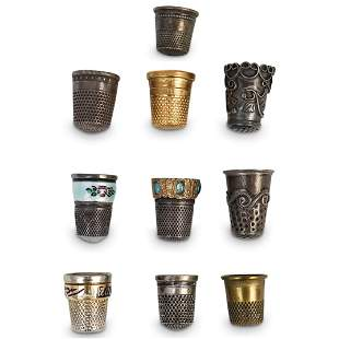 (10Pc) Sterling Thimble Collection