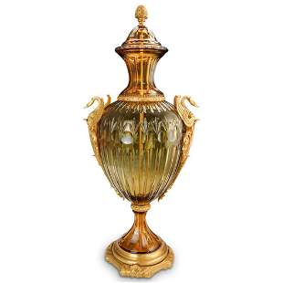 Imperial Style Amber Crystal & Dore Bronze Urn