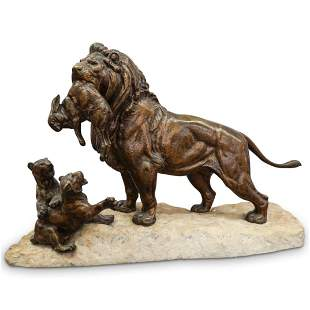 Signed Lion Bronze and Stone Statue