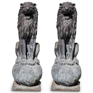 Monumental Cast Metal Guardian Lion Statues