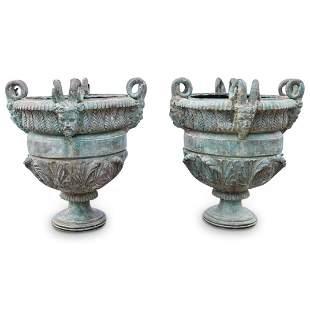 Pair Of Figural Bronze Rams Head Jardines