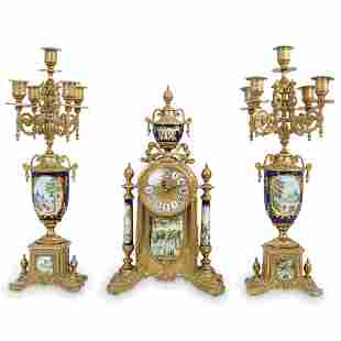 (3 Pcs) Imperial Style Gilt Bronze & Porcelain Clock