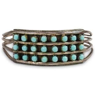 "Navajo Silver ""Snake Eye"" Turquoise Triple Row Cuff"