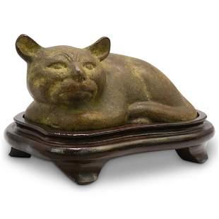 Antique Chinese Bronze Cat Sculpture