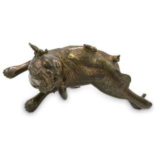 Antique Chinese Bronze Gilt Foo Dog