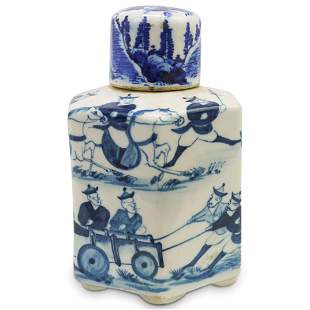 Antique Chinese Canton Blue and White Porcelain Tea