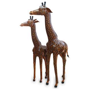 Pair Of Leather Wrapped Giraffes