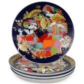 (4 Pc) Rosenthal Porcelain Plate Set by Bjorn Wiinblad