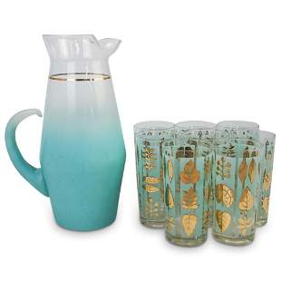 (9 Pcs) Mid-Century Pitcher and Glass Set