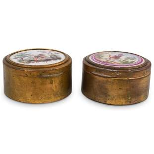 (2 Pc) Pair of Antique Italian Jewelry Box