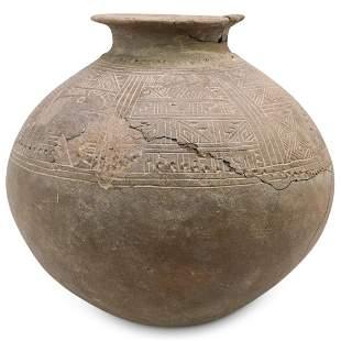 Large Pre-Columbian Inca Incise Pot