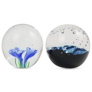 (2 Pc) Art Glass Paperweights Set