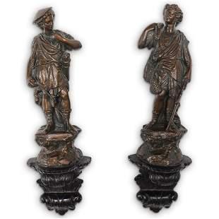 Pair Of Figural Plaster Sconces