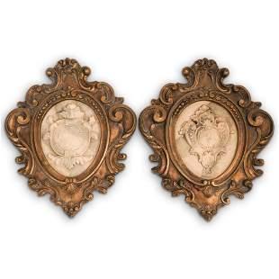 (2 Pc) Antique Italian Ornate Cartouche Set