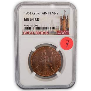 1961 Great Britain Penny (NGC) MS-64