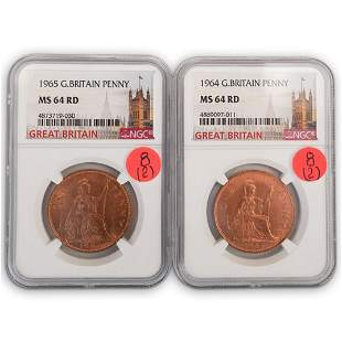 (2Pc) Great Britain Penny 1964, 1965 (NGC)