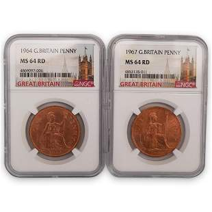(2Pc) Great Britain Penny 1964, 1967 (NGC)