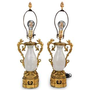 French Empire Gilt Bronze and Rock Crystal Lamps