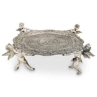 German 800 Silver Figural Footed Platter