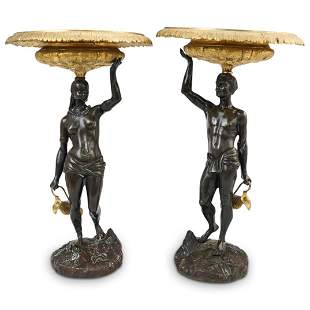 Antique Bronze Blackamoor Tazzas
