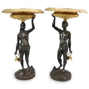 Antique Bronze Blackamoor Tazzas