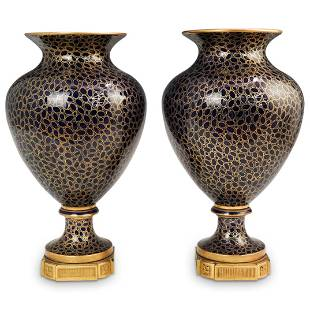 Pair Of Sevres Porcelain and Bronze Vases