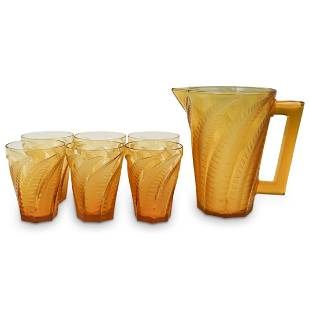 """(6 Pc) R. Lalique """"Hesperides"""" Pitcher and Glasses"""