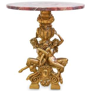 19th Cent. Antonio Pandiani Bronze and Marble Table