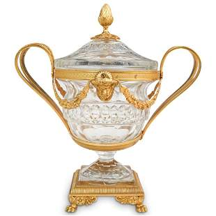 Baccarat Style Gilt Bronze and Crystal Urn