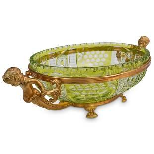 Gilt Bronze & Cut Crystal Centerpiece Bowl