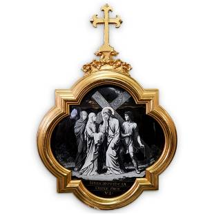 Monumental Probably Limoges 19th Cent Religious Enamel