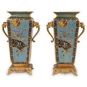 Pair of Chinoiserie Champleve Enamel Bronze Vases