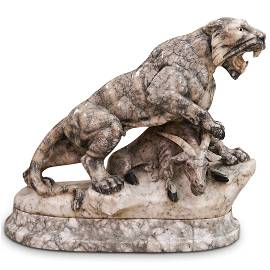 Antique Carved Marble Predatory Tiger