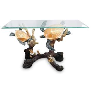 Robert Wyland Style Bronze Turtle Console Table