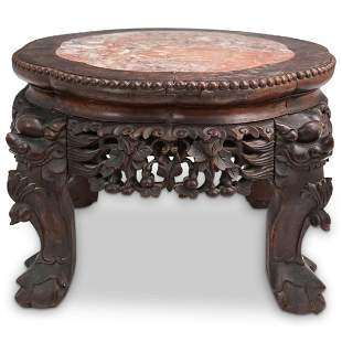 Chinese Carved Wood & Marble Pedestal