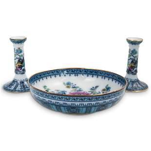(3 Pc) Losol Ware Shanghai Candlesticks & Bowl